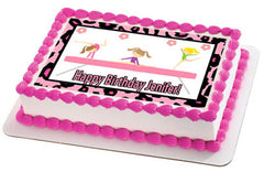 Gymnastics Zebra Tumbling Gym Girls Edible Birthday Cake Topper OR Cupcake Topper, Decor - Edible Prints On Cake (Edible Cake &Cupcake Topper)