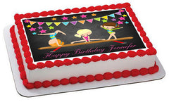 Gymnastics Girls - Edible Cake Topper OR Cupcake Topper, Decor