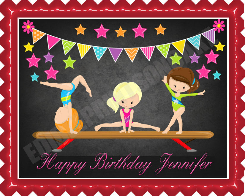 Pleasing Gymnastics Girls Edible Cake Topper Or Cupcake Topper Decor Personalised Birthday Cards Petedlily Jamesorg