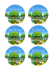 Happy Easter Bunny on the Nature - Edible Cake Topper, Cupcake Toppers, Strips