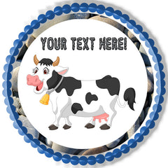 Happy Cow - Edible Cake Topper, Cupcake Toppers, Strips