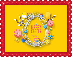 Happy Easter - Edible Cake Topper, Cupcake Toppers, Strips
