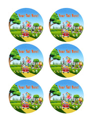 Happy Easter Rabbit Riding a Car - Edible Cake Topper, Cupcake Toppers, Strips