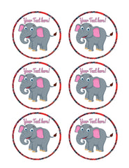 Happy Elephant - Edible Cake Topper, Cupcake Toppers, Strips