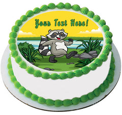 Happy Raccoon - Edible Cake Topper, Cupcake Toppers, Strips