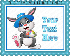 Happy easter bunny wearing a hat carrying eggs - Edible Cake Topper, Cupcake Toppers, Strips