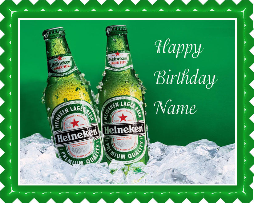 Heineken Beer Edible Birthday Cake Topper OR Cupcake Topper, Decor