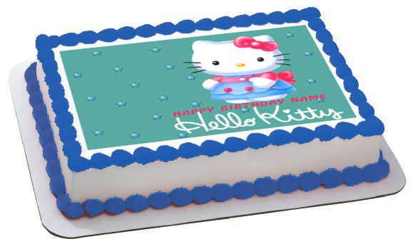 Hello Kitty Character 2 Edible Birthday Cake Topper OR Cupcake Topper, Decor - Edible Prints On Cake (Edible Cake &Cupcake Topper)