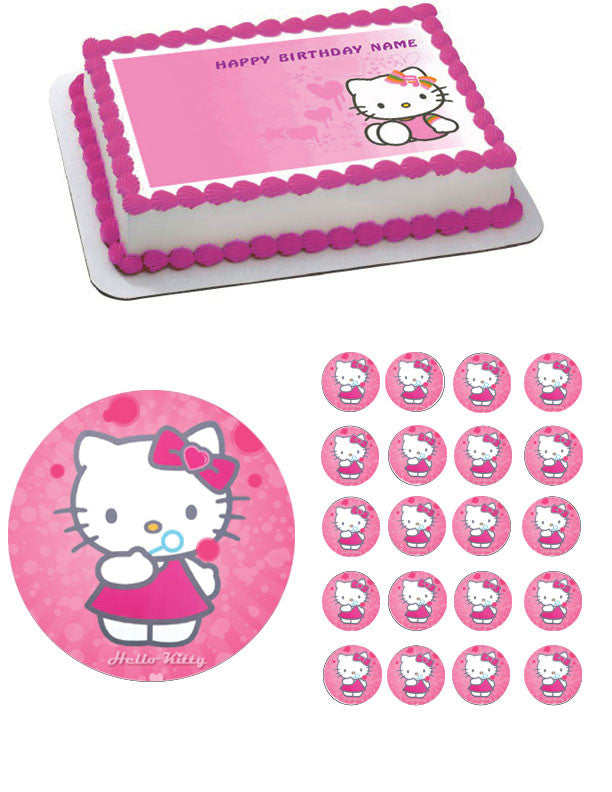 Hello Kitty Character 3 Edible Birthday Cake Topper OR Cupcake Decor