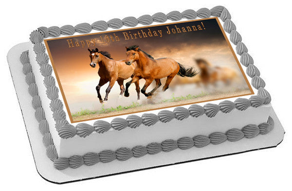 Horses Edible Birthday Cake Topper OR Cupcake Decor