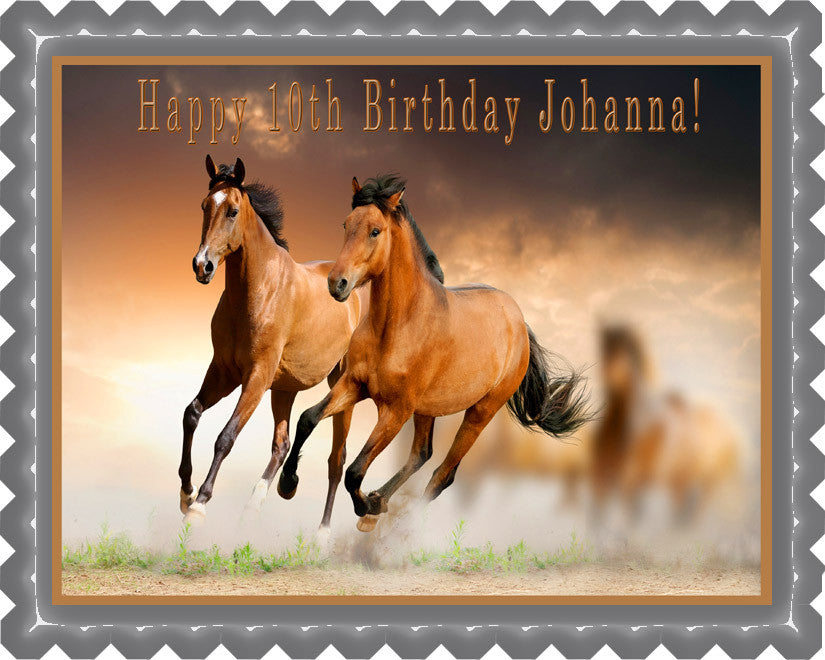 Horses Edible Birthday Cake Topper OR Cupcake Topper, Decor - Edible Prints On Cake (Edible Cake &Cupcake Topper)