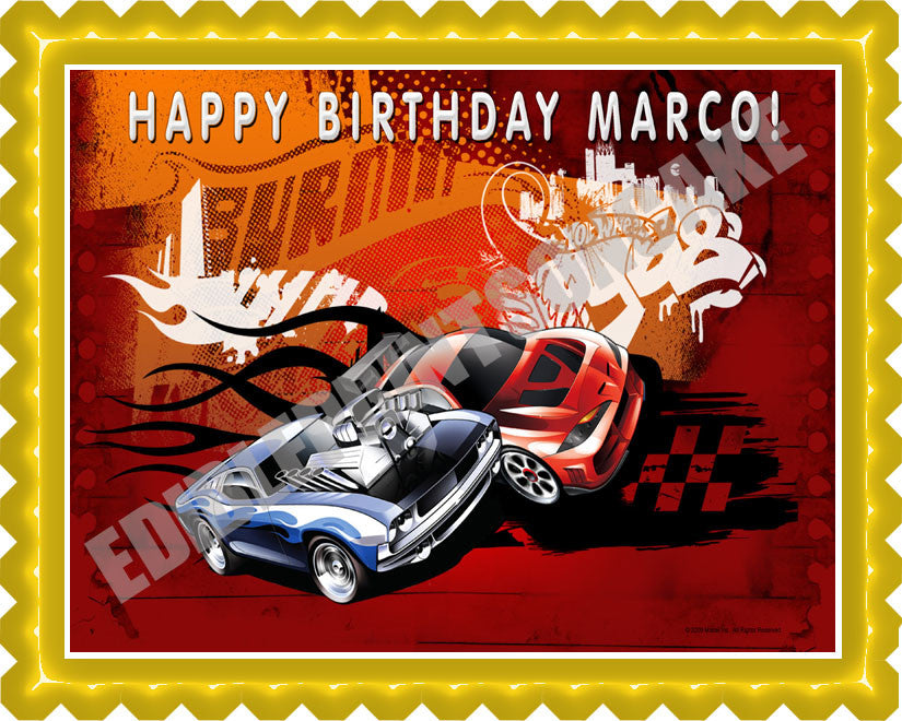 Brilliant Hot Wheels Edible Birthday Cake Or Cupcake Topper Edible Prints Funny Birthday Cards Online Chimdamsfinfo