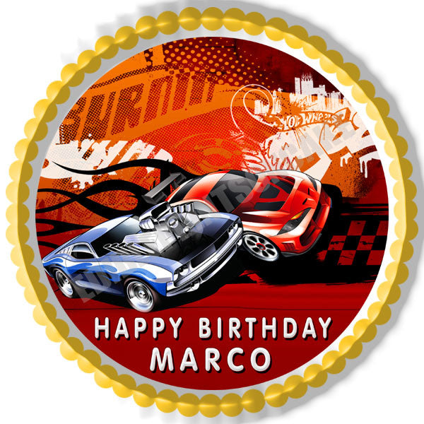 Happy Birthday Frame Png Hot Wheels Edible Birt...