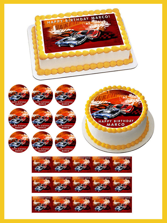 Hot Wheels Edible Birthday Cake Or Cupcake Topper Edible Prints On