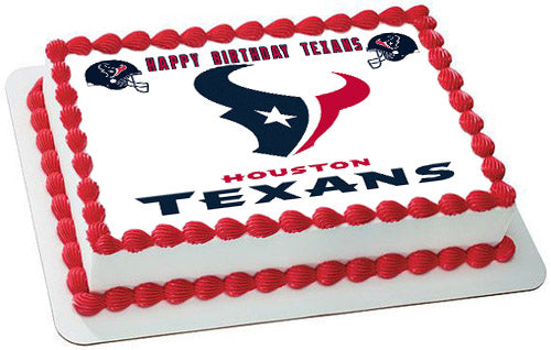 Houston Texans Edible Birthday Cake Topper OR Cupcake Decor