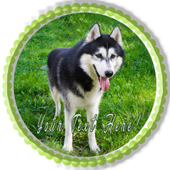 Husky Portrait - Edible Cake Topper, Cupcake Toppers, Strips