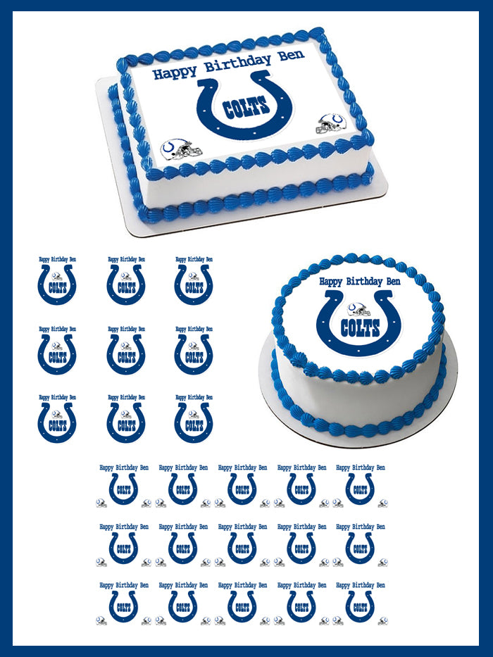Indianapolis Colts Edible Birthday Cake Image Topper 1//4 Sheet Icing Frosting