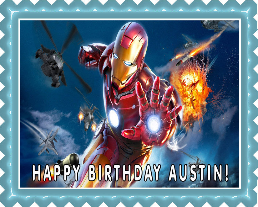 Iron Man Edible Birthday Cake OR Cupcake Topper Edible Prints On