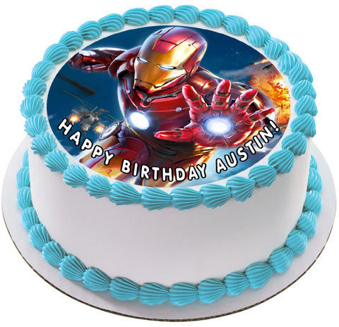 Iron Man Edible Birthday Cake Topper OR Cupcake Decor