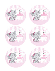 It's a Girl Elephant Baby Shower - Edible Cake Topper, Cupcake Toppers, Strips