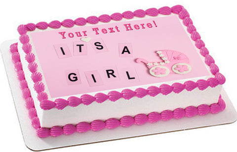 Its a girl pink Newborn Baby shower - Edible Cake Topper, Cupcake Toppers, Strips