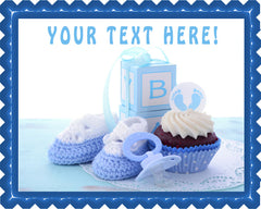 Its a Boy Blue Baby Shower - Edible Cake Topper, Cupcake Toppers, Strips