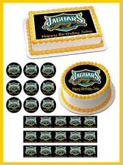 Jacksonville Jaguars 2 Edible Birthday Cake Topper OR Cupcake Topper, Decor