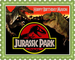 Jurassic Park Edible Birthday Cake Topper OR Cupcake Topper, Decor