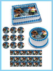 Jurassic World Dinosaur Lego Edible Birthday Cake Topper OR Cupcake Topper, Decor - Edible Prints On Cake (Edible Cake &Cupcake Topper)