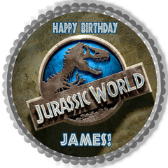 Jurassic World 1 Edible Birthday Cake Topper OR Cupcake Topper, Decor - Edible Prints On Cake (Edible Cake &Cupcake Topper)