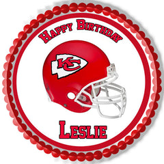 Kansas City Chiefs Edible Birthday Cake Topper OR Cupcake Topper, Decor - Edible Prints On Cake (Edible Cake &Cupcake Topper)