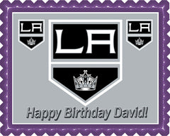 LA Kings Edible Birthday Cake Topper OR Cupcake Topper, Decor