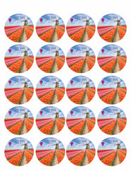 Landscape of Netherlands of Tulips with Hot Air Balloon - Edible Cake Topper, Cupcake Toppers, Strips