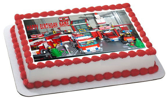 Lego City Fire Station Edible Birthday Cake Or Cupcake