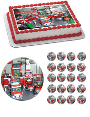 Lego City Fire.Station Edible Birthday Cake Topper OR Cupcake Topper, Decor - Edible Prints On Cake (Edible Cake &Cupcake Topper)