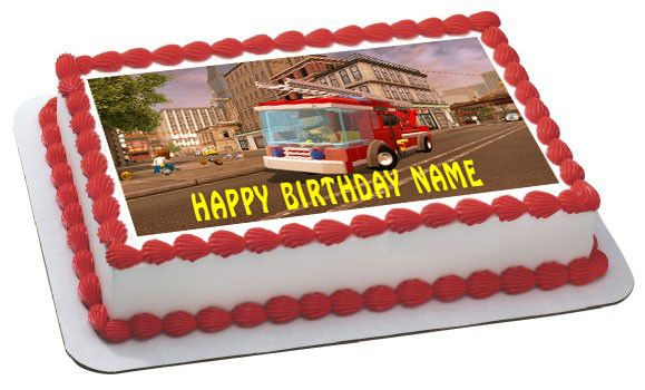 Lego City Fire Engine Edible Birthday Cake Or Cupcake