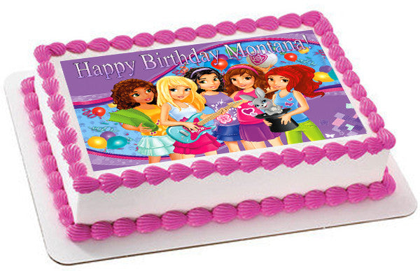 Lego Friends Edible Birthday Cake OR Cupcake Topper ...