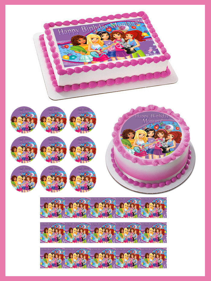 Astounding Lego Friends Edible Cake Topper Or Cupcake Topper Decor Personalised Birthday Cards Paralily Jamesorg