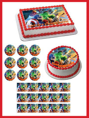 Lego Marvel Superheroes Edible Birthday Cake Topper OR Cupcake Topper, Decor