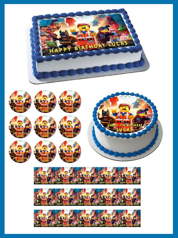 Awe Inspiring Lego Movie Edible Birthday Cake Or Cupcake Topper Edible Prints Funny Birthday Cards Online Overcheapnameinfo
