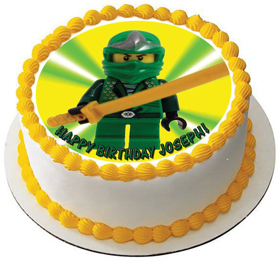 Lego Ninja Green Edible Birthday Cake Topper OR Cupcake Topper, Decor