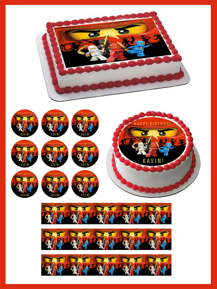Lego Ninjago 2 Edible Birthday Cake Topper OR Cupcake Decor