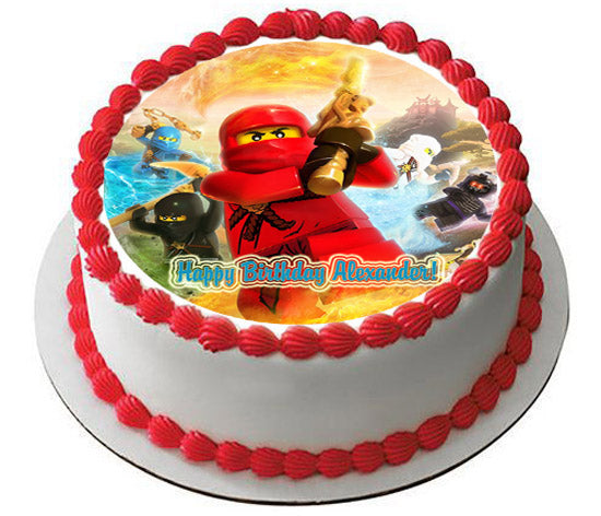 Lego Ninjago 3 Edible Birthday Cake OR Cupcake Topper
