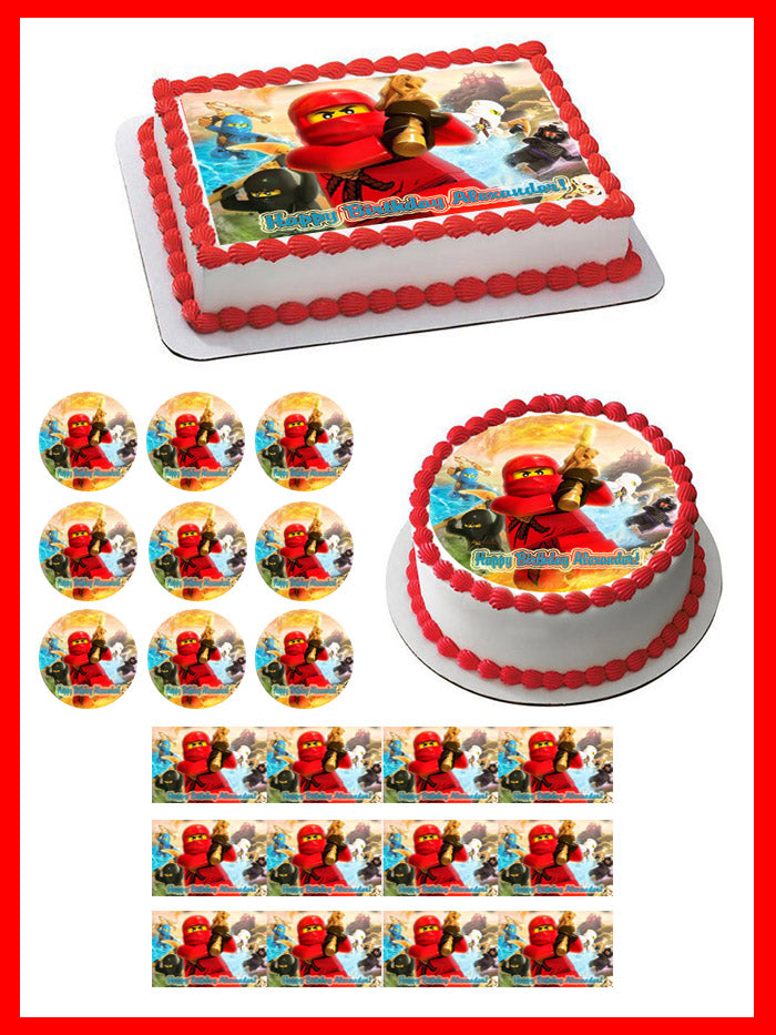 Magnificent Lego Ninjago 3 Edible Birthday Cake Or Cupcake Topper Edible Funny Birthday Cards Online Inifofree Goldxyz