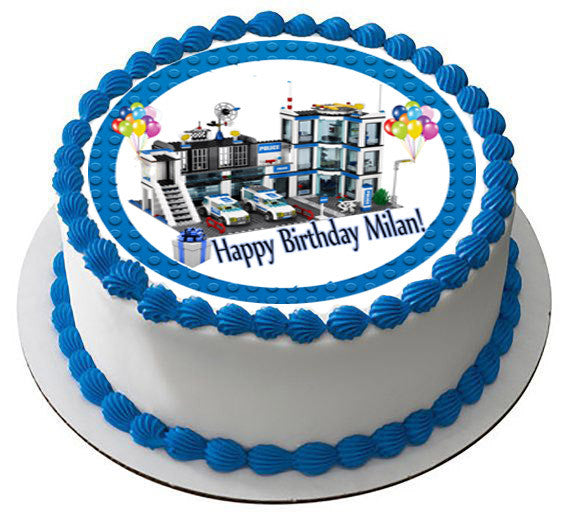 Lego City Police Station 4 Edible Birthday Cake Topper OR Cupcake Decor