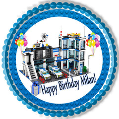 Lego City Police Station 4 Edible Birthday Cake Topper OR Cupcake Topper, Decor - Edible Prints On Cake (Edible Cake &Cupcake Topper)