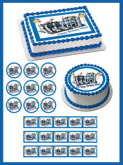 Lego City Police Station 4 Edible Birthday Cake Topper OR Cupcake Topper, Decor