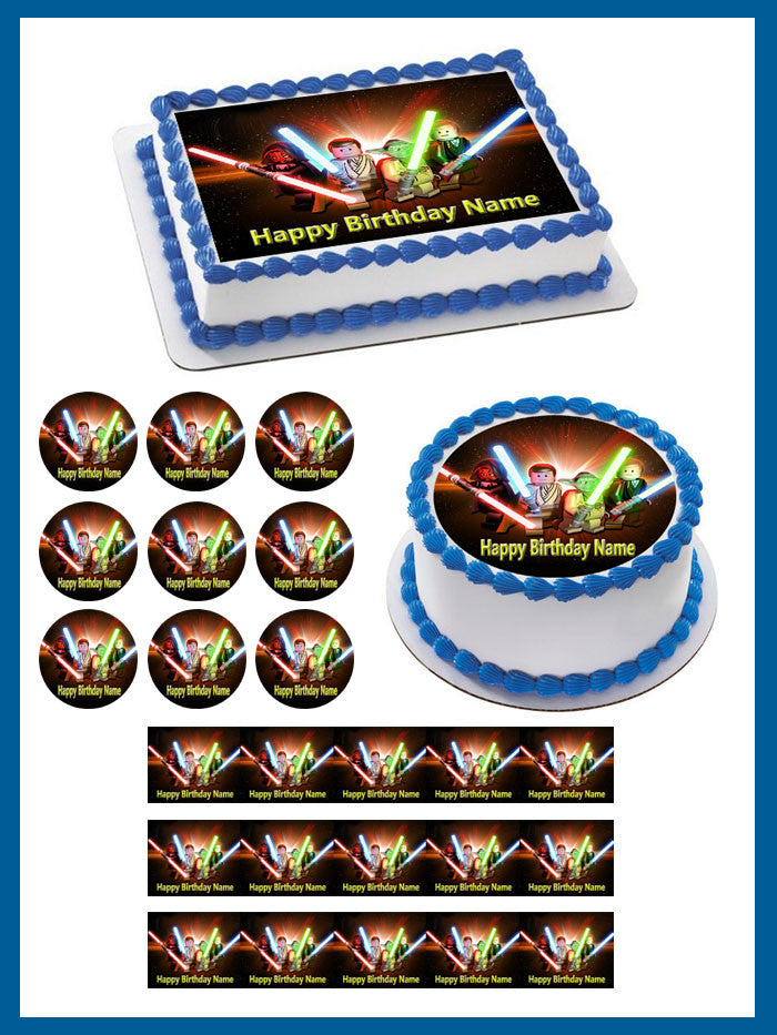 Remarkable Lego Star Wars 3 Edible Birthday Cake Or Cupcake Topper Edible Funny Birthday Cards Online Overcheapnameinfo