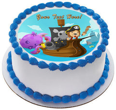 Lion Pirate Adventure Fantasy Cartoon - Edible Cake Topper, Cupcake Toppers, Strips