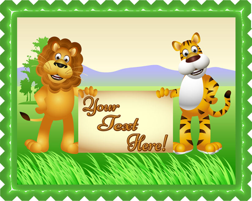 Lion and Tiger Cartoon - Edible Cake Topper, Cupcake Toppers, Strips